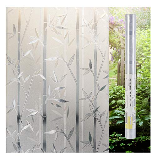 Frosted Glass Blocks - LEMON CLOUD Bamboo Frosted Window Films Privacy Decorative Glass Film (23.6in. by 78.7in)