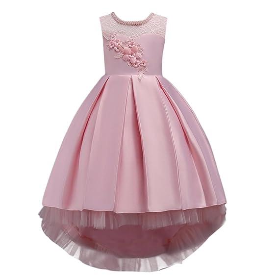 Vestido de niña de Flores para la Boda Princesa Vestidos de Dama De Honor Sin Mangas Hi-Lo Fiesta Comunión Cumpleaños Bola Pageant Paseo Baile Vestir ...