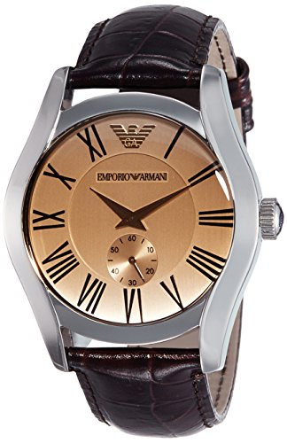 Emporio Armani Men's AR0645 Classic Brown Leather Roman Numeral Dial Watch (Dial Roman Brown)