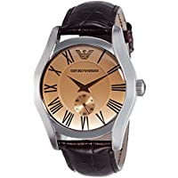 Emporio Armani Men's ' Classic Quartz Stainless Steel and Leather Dress Watch, Color:Brown (Model: AR0645