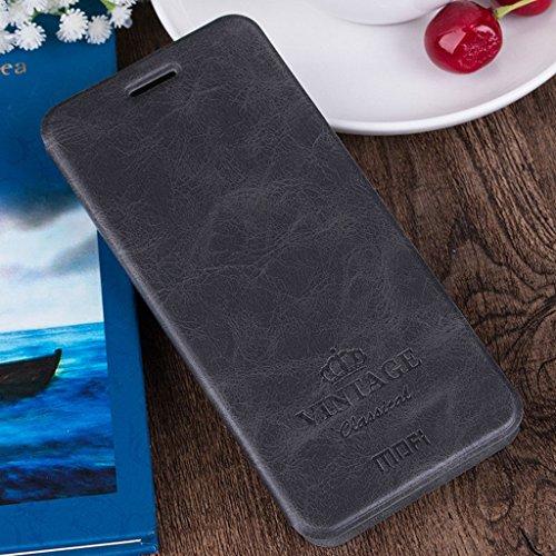 KaTelin OnePlus 3 Funda - Soporte Múltiple Ángulo Interna Acero Escama Funda Cuero Clamshell Tapa Case Cover para OnePlus 3 - Negro Negro