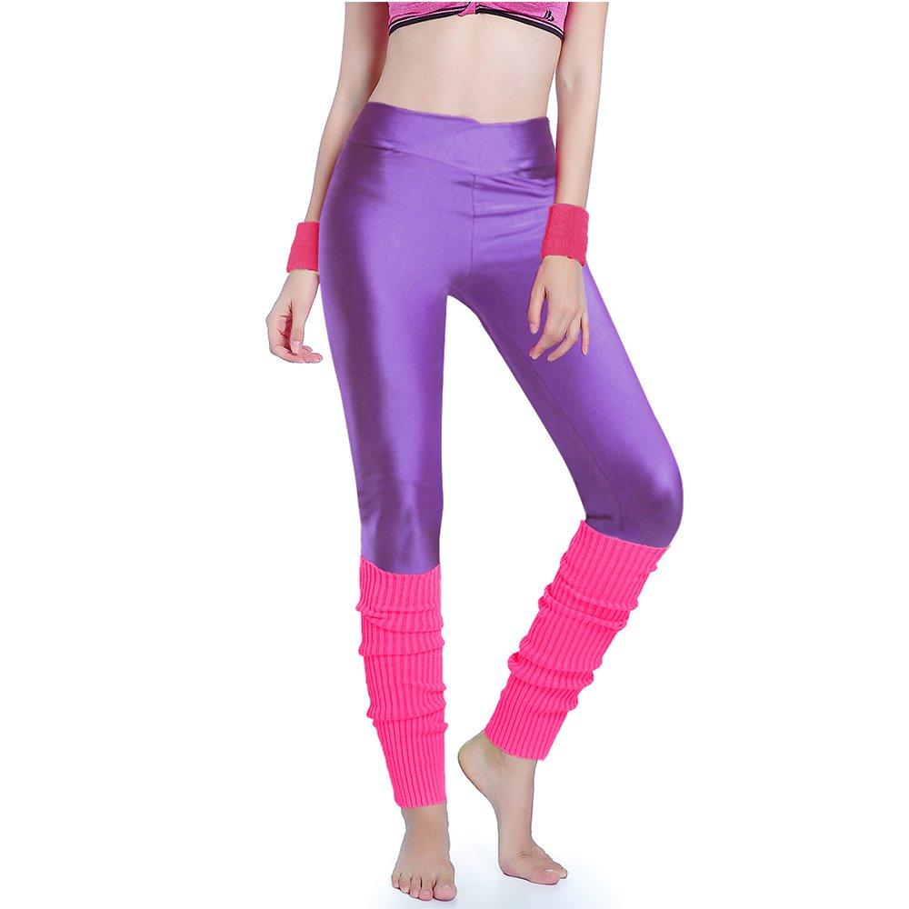 Kimberly's Knit Women 80s Party Neon Capri Running Workout Leggings Leg Warmers (One Size, V purple+hotpink)