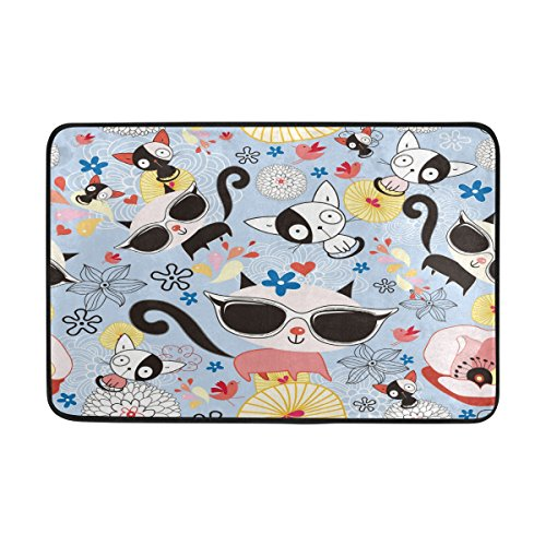 Blue Viper Wearing Sunglasses Kawaiil Cats Non-Slip Doormat for Home Living Room Bathroom Kitchen Outdoor Outside Indoor Entrance Way Front Door 23.6 x 15.7 - Glasses Frank Custom