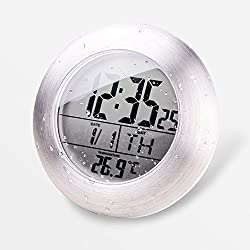 hito LCD Bathroom Shower Clock displays Time, Date, Week and Temperature w/suction cup, hanging hole AND table stand (Aluminum finish)