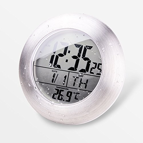 HITO LCD Bathroom Shower Clock displays Time, Date, Week and Temperature w/ suction cup, hanging hole AND table stand (Aluminum finish)