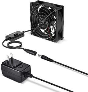 ELUTENG Quiet 80mm USB Fan with Power Adapter 12V, Ventilation Fan with 3 Speed Control Cooling Blower for Receiver DVR Playstation Xbox Computer Cabinet Cooling