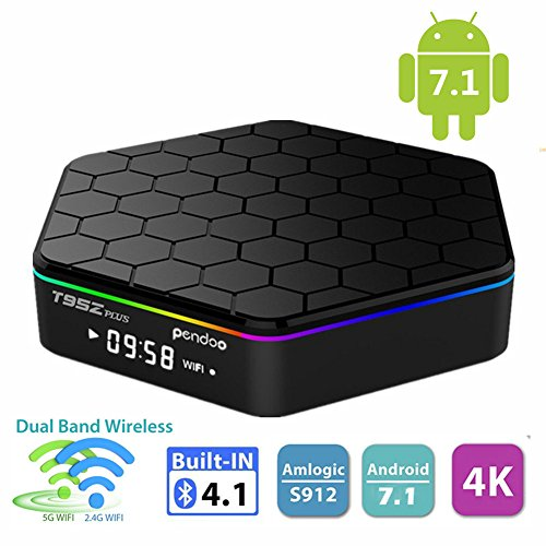 Android 7.1 TV Box,Pendoo T95Z Plus Android Box 2GB+16GB Dual WIFI 2.4GHz/5GHz Bluetooth 4.0 1000M LAN Amlogic S912 Octa-Core Supporting 4K (60Hz) Full HD by pendoo
