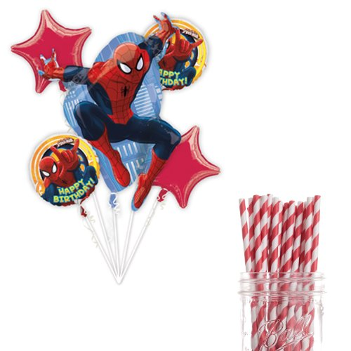 Dress My Cupcake Party Decoration Kit with Straws and Balloons, Spiderman Birthday Party