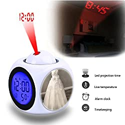 Projection Alarm Clock Wake Up Bedroom with Data and Temperature Display Talking Function, LED Wall/Ceiling Projection,Customize the pattern-812.Viva Vintage -