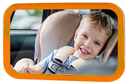 - Bixon Baby Safety Mirror Orange - Shatterproof Back-Seat Wide Convex Mirror for Infants; Easy Fitting to Keep Baby In Sight, Clearer View With Allowed Rotation