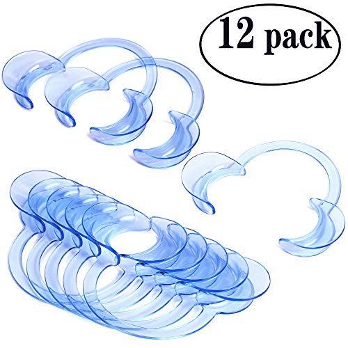 Laocui Cheek Retractors Mouth Opener for Dental Use and Party Fun Games 12 Pack, C-shape Size L, Blue