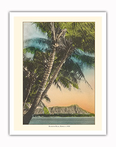 Diamond Head Crater - Sunset View from Waikiki Beach, Hawaii - Vintage Hawaiian Color Postcard c.1920s - Fine Art Print - 11in x - Art Hawaiian Beach Vintage