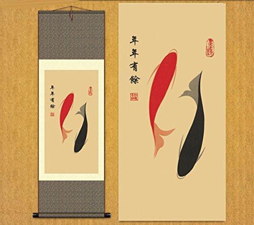 Sunmir (TM Silk Scroll Painting Ink Painting Koi Fish Chinese Painting