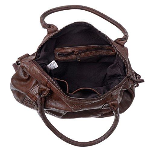 Bolso mujer en piel teñida en prenda con 2 asas y bandolera DUDU Cocoa Brown