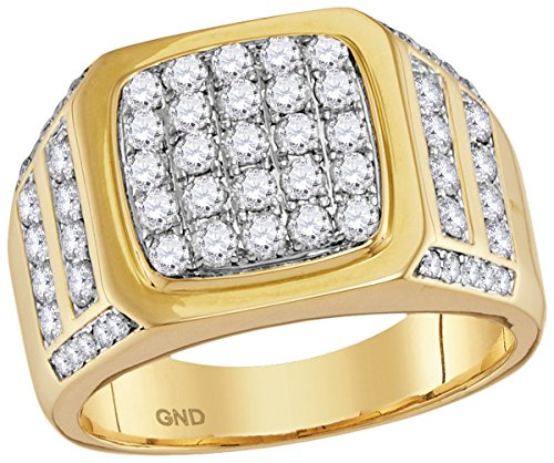 14k Mens Diamond Rings - Roy Rose Jewelry 14K Yellow Gold Mens Round Diamond Square Cluster Ring 2 Carat tw ~ Size 10