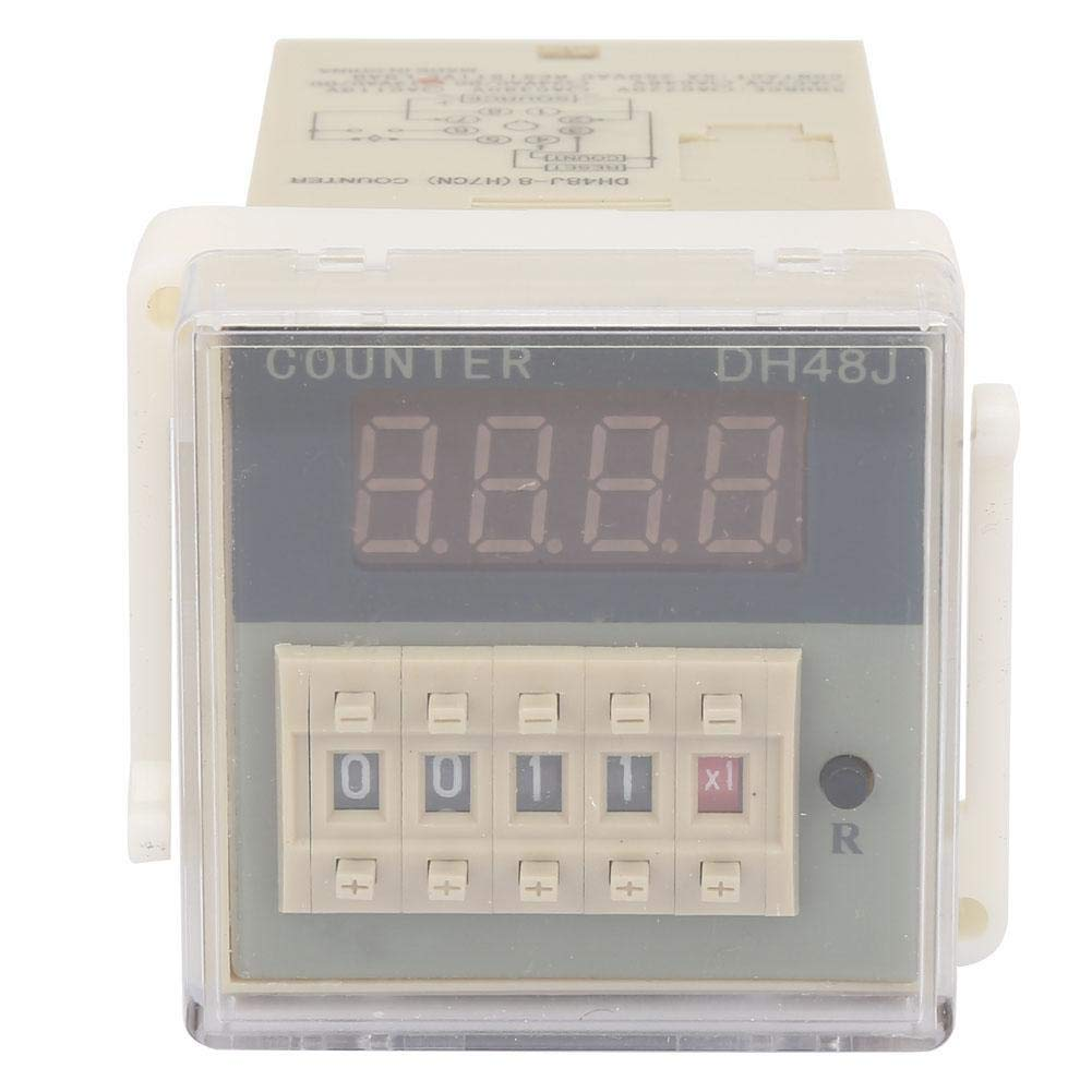 Counter Delay DH48J-8 1005151mm Digital Counter LCD-Display Round 8 Pin 1-999900 for Remote Control 12VAC//DC