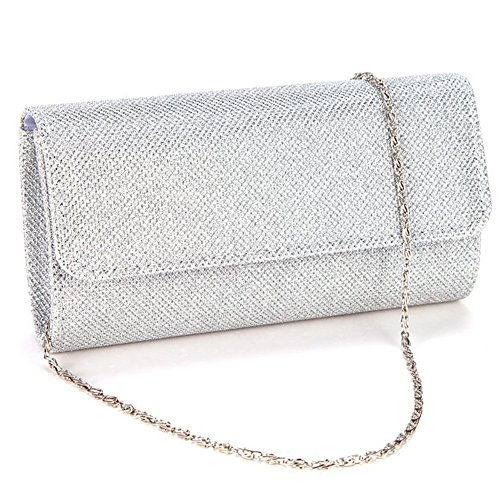 Silver Evening Bag - Jubileens Women's Evening Party Wedding Ball Prom Clutch Wallet Handbag(Silver)