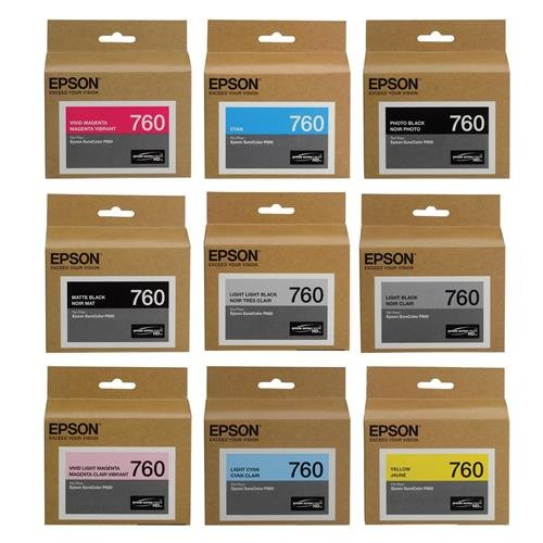 Epson T760 Ultrachrome HD Ink Set for SureColor P600 Printer - HD Black (Photo/Matte/Light/Light-Light), HD Cyan, HD Magenta (Vivid/Vivid Light), HD Yellow, HD Light Cyan,