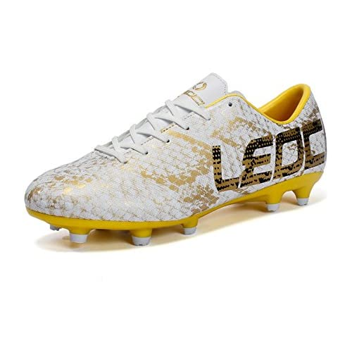LEOCI Men Boys Kids Soccer Shoes Outdoor Spikes Football Boots Cleats Children Training Football Boots (US4=Tag33, Gold)