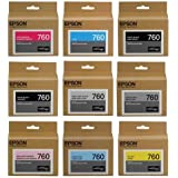 Epson T760 Ultrachrome HD Ink Set for SureColor P600 Printer - HD Black (Photo/Matte/Light/Light-Light), HD Cyan, HD Magenta (Vivid/Vivid Light), HD Yellow, HD Light Cyan, Museo Silver Rag Sampler