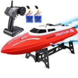 Remote Control Boat, Kuman 25KM/H High Speed Waterproof Rc Racing Boat with 180º Flip Function,2.4GHz LCD Display Controller for Kids/Adults Pool & Outdoor Use SK1