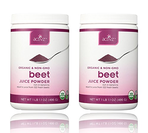 Organic Whole Beet Juice Powder by Activz, 1 lb 1.1 oz (486 g) - 2 Pack