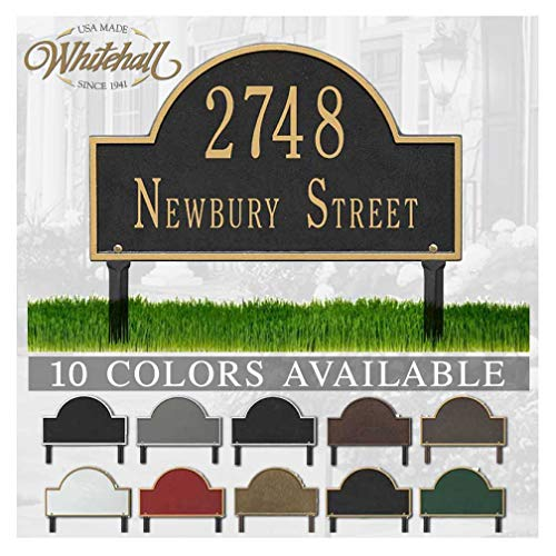(Metal Address Plaque Personalized Cast Lawn Mounted Arch Plaque. Display Your Address and Street Name. Custom House Number Sign.)