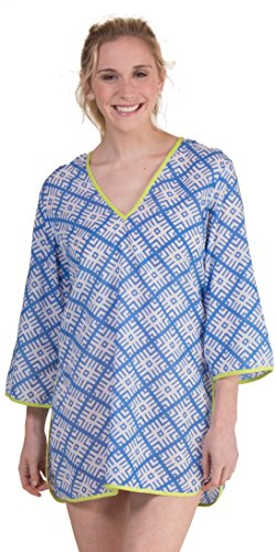 Peppermint Bay Cotton 3/4 Sleeve V-Neck Beach Cover Up - Tete-A-Tete (White/Blue/Lime, Medium (10-12))
