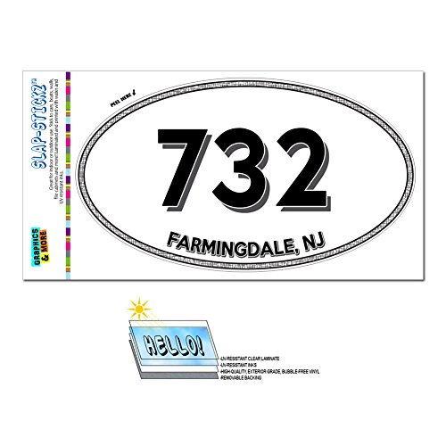 Graphics and More Area Code Oval Window Laminated Sticker 732 New Jersey NJ Adelphia - Middlesex - Farmingdale