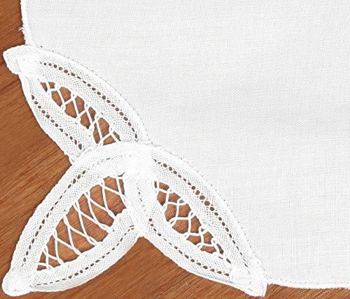 Creative Linens 12PCS Battenburg Lace Napkins WHITE, Set of 12 Pieces, 100% Cotton ()