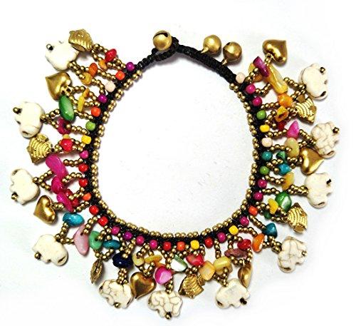 - SISOFTLY Boho Beaded Anklet Elephant Heart Animal Charms Girl Foot Chain for Women Adjustable Chain Bracelet (White)