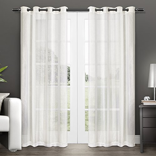 Exclusive Home Curtains Penny Sheer Grommet Top Window Curtain Panel Pair, Off-White, 50x96