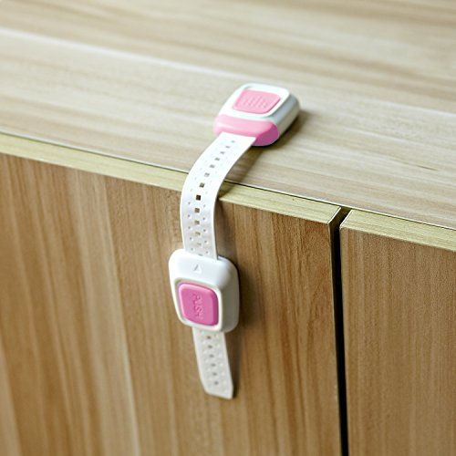 Adjustable Child Safety Strap Locks for Fridge, Furniture, Appliances, and More - Cabinets, Doors, Drawers, Oven, Toilet Seats etc. 3M Adhesive Plus Extra Pads, 6 Latches Set (pink)