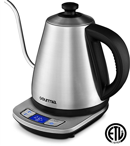 Gourmia Cordless Electric Kettle - Digital Base Control- Keep Warm - Precise Gooseneck Spout - Perfect for Pour Over Coffee and Loose Leaf Teas - Auto Shut Off - 1L - 1000W - Stainless Steel - GPK720