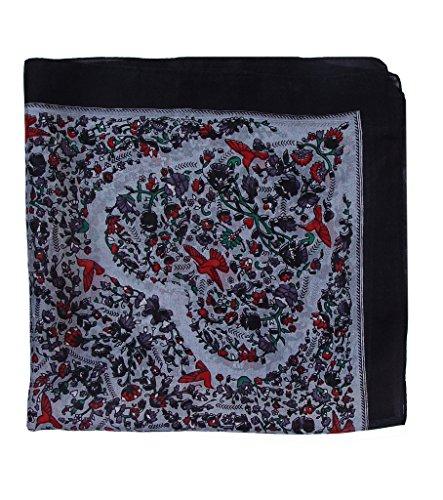 Paisley Silk Square Scarf, Bandana, Neckerchief 20in X 20in: Black Grey (Paisley Square Scarf)