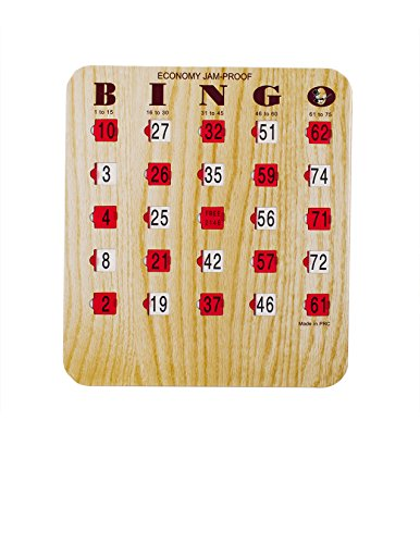 MR CHIPS Bingo Cards Slide Shutter for Senior and Kids - Easy Sliders with Big Tabs - Wood Grain Color - 200Pk