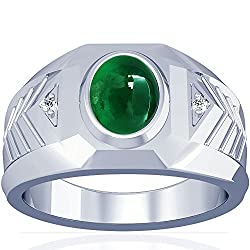 14K White Gold Cabochon Cut Emerald Men's Ring (GIA Certificate)