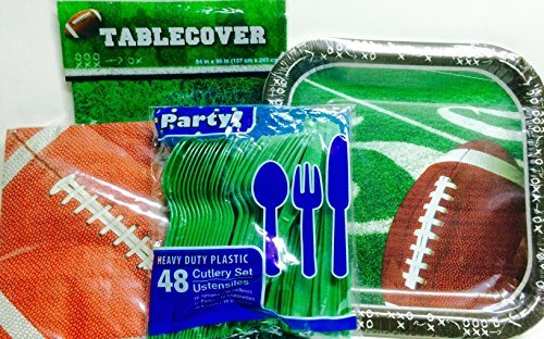 Football Party Supplies! Root for Your Favorite Team! Celebrate Their Success! For 14 Football Fans- Utensils, Plates, Napkins, Tablecover; 4-pc -