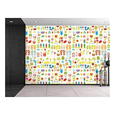 Large Wall Mural Summer Vacation Element Vinyl Wallpaper Removable Decorating, Quality Artwork, Wonderful Visual