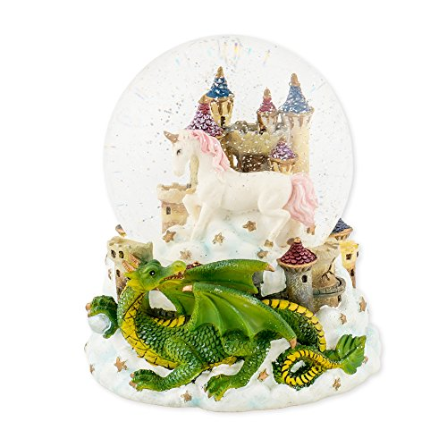 Unicorn Snowglobe - Castle Unicorn with Green Dragon 100mm Resin Glitter Water Globe Plays Tune Our Father