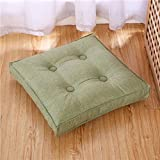 Hiltow Cotton Linen Floor Pillow Cushion Japanese Style Tatami Pillows Square Seat Cushion Thicken Chair Wave Window Pad(Grass Green)