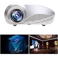JPOQW(TM) Mini Home Multimedia Cinema LED Projector HD 1080P Supporting AV TV VGA USB HDMI SD -White