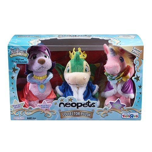 Neopets Collectors Series 1 Royal Girl Uni, Royal Boy Scorchio and Royal Girl Gelert 3 pack set - Neopets Collector Series