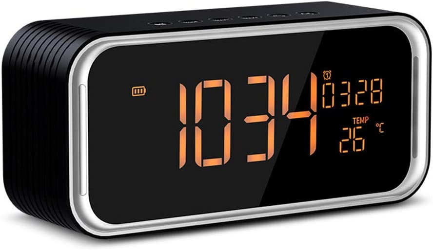 MESST Bluetooth inalámbrico, Pantalla Grande Altavoz de Despertador Doble, Tarjeta de Ordenador subwoofer HiFi, Adecuado para conectar teléfono móvil Bluetooth, Ordenador portátil
