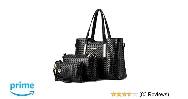 7d19acd6b6 Amazon.com  Women Pu Leather Weave Handbag Purse Bag Set 3 Pieces Tote Bag  Set Shoulder Bags Big Capacity Cross Body Bag