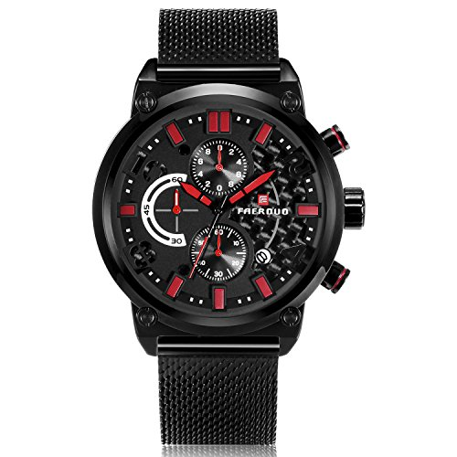 Watch, Classic Wrist Watch Black Stainless Steel Mesh Band Water Resistant Watches, with Multifunction Calendar Date Window and Chronograph, Perfect Gift for Cooperator and Client
