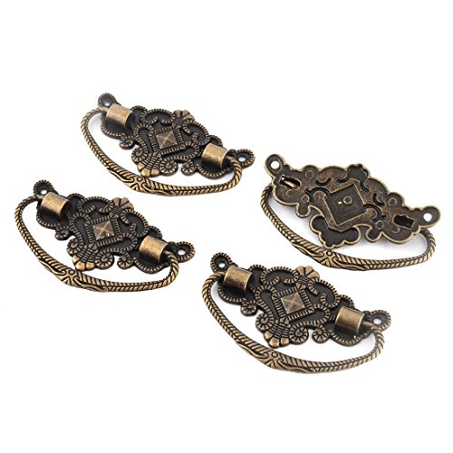 uxcell Zinc Alloy Suitcase Drawer Vintage Style Box Pull Handle 4 Pcs Bronze Tone 1/2' 64mm Pull