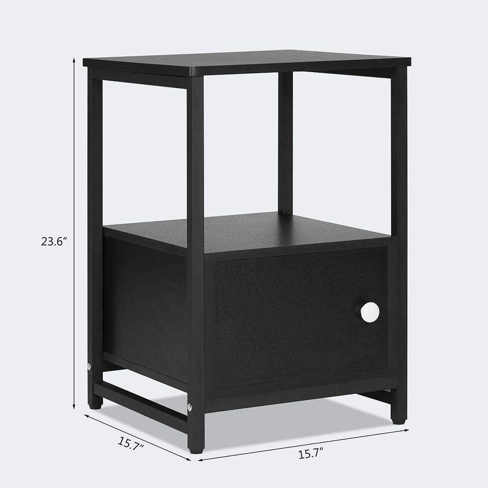 Black life Bedside Table Cabinet End Table NightStand with Shutter Door Cupboard Lv