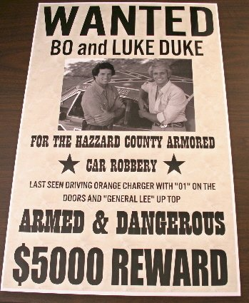 Motown Automotive Design DUKES OF HAZZARD WANTED POSTER GENERAL LEE BO & LUKE 11 x 17 ()