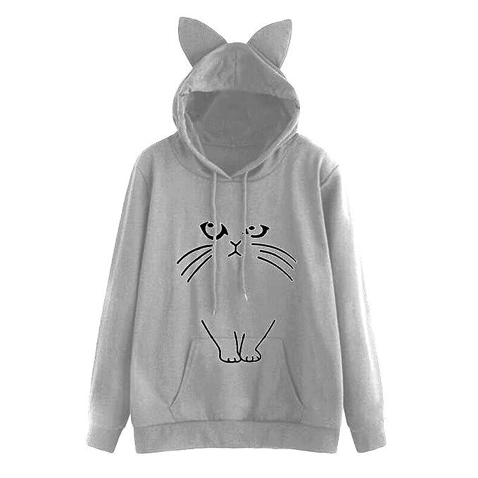 ❤ Sudadera con Capucha para Mujer, Estampado de Gatos Sudadera con Capucha Linda, Blusa Absolute: Amazon.es: Ropa y accesorios